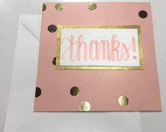 Pink and Gold Polkadot Thank You Card,  Handmade Thank You Card, Custom Thank You Cards, Modern Calligraphy