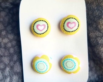 Neon Heart Fabric Button Earrings Steel Studs with Butterfly Back