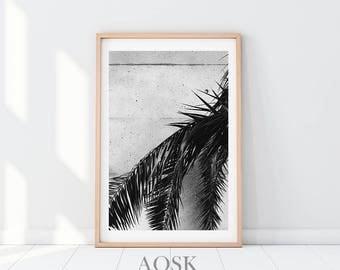 Plant Leaf Art Print, Palm Wall Art Prints, Palm Leaf Poster, Tropical Leaf Photo, Plant Art Printable, Tropical Leaf Poster, Modern Leaves