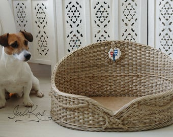 Unique Pet bed custom gift Pet house Basket for Pets Wicker dog bed Jack russell gifts Sailor dog Personalized Pet basket