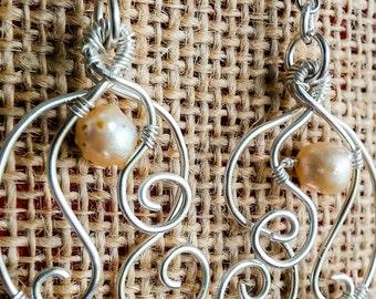 Floating Pearl Silver Dangle Earrings, Boho Bridal Pearl Silver Earrings, Simple Pearl Silver Dangle Earring, Sterling Silver Dangle,