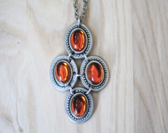 Vintage Necklace // Pewter and Glass Pendant // Sweden // 1970s
