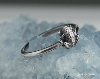 Sterling Silver Frog Ring Solid .925 Tiny Frog Rings Custom Sizes