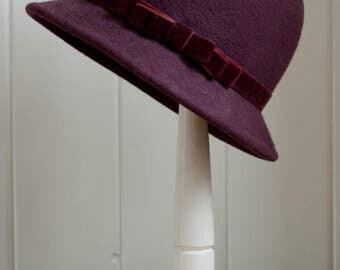 Plum Wool Felt Cloche - 1920's Style