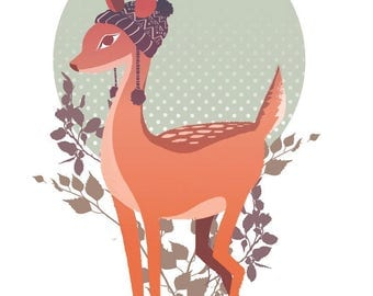 Nursery wall art, deer illustration, boy or girl room
