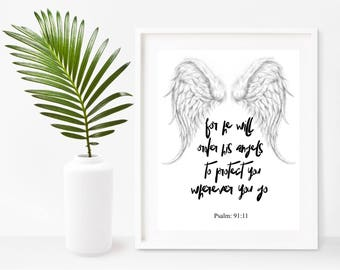 Bible Print, For He will Order His Angels,  Printable Art, Nursery Bible Verse, Christian Wall Art, Instant Download, Home Decor, Wall Decor