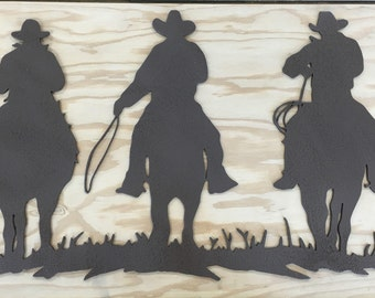 Three Cowboys Metal Wall Art