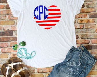 SOFT SHIRT - American Flag Monogram Shirt - Patriotic - Fourth of July - 4th of July - Support the Troops - USA - 'Merica - 'Murica - Beach