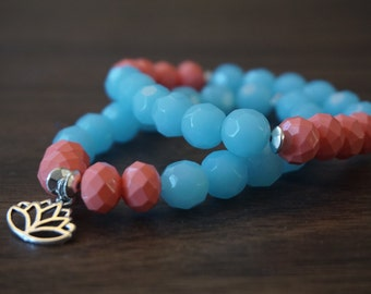Lotus Charm With Light Blue and Peach Beads - Bracelet Set