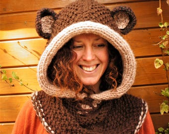 Knit and Crochet Cozy Bear Hood