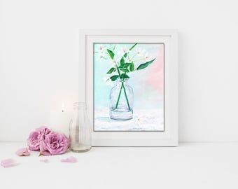 White Flower Print Art, Flower Wall Art, Wall Art, Bathroom Decor, Flower Painting, White Flower, Bathroom Vanity, Printable Art, Art Print
