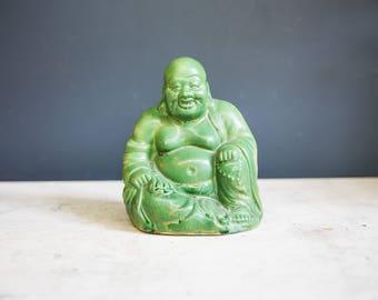Vintage Matte Green Ceramic Buddha