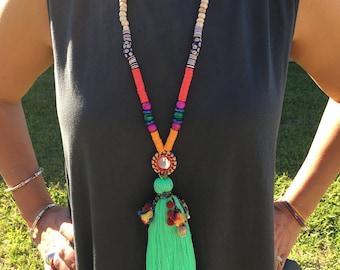 Minty Green Boho Long Tassel Necklace