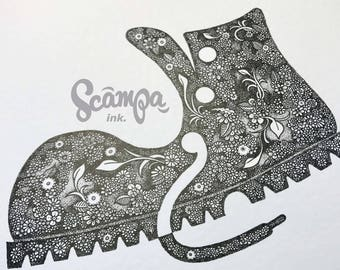 Original hand drawn, ink print illustration of a beautifully detailed boot. Framed
