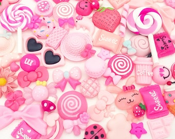 Pink Assorted Cabochon Mix (10 pcs / 30 pcs by Random) Kawaii Cabochons Resin Polymer Clay Cell Phone Deco