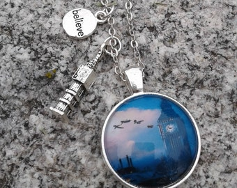 Peter Pan Over London Necklace with Charms