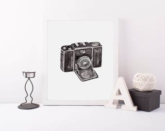 Camera Print Vintage Camera Retro Camera Watercolor Camera Photography Gift For Her Feminine Art Photography Art Camera Art Print