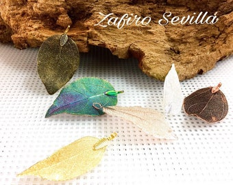 Electroformed natural leaf slices ,to choose silver,golden,bronze,copper,rose gold, multicolor/pack 1pcs
