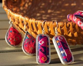 Ethnic embroidery drop earrings