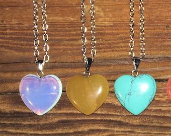 Natural Gemstone Heart Pendant Necklace
