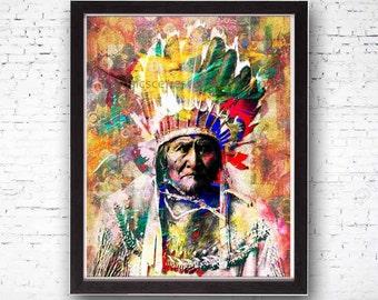 Geronimo, Native American, Indian, Indain Art, Indian Print, Modern Art, Modern Print, Unique Mixed Media Art, Leader, Contemporary Art