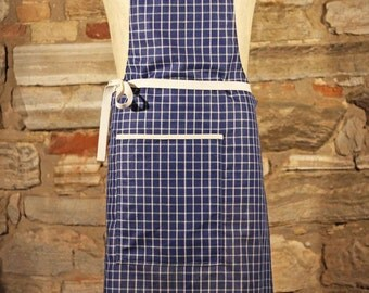 Cotton linen apron | Check pattern | Available in blue, brown or green | Handmade Apron | Made in Italy