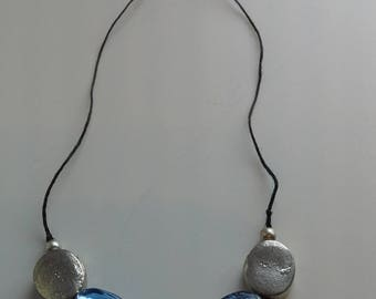 Blue, green and silver beaded necklace