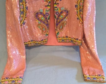 Richilene Saks Pink Bolero Jacket Vintage 80's Sequined Size 6 Designer Beaded and Embroidered