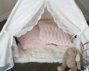 White Lace Teepee WITH POLES, Canvas Teepee, Play Tent, Kids Teepee, Nursery