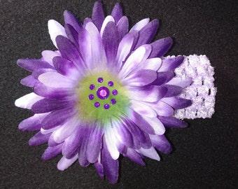 Purple/White flower infant headband
