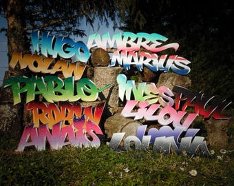 Wood personalized initials / / painting / / Graffiti 3D / / home decor / / gift idea