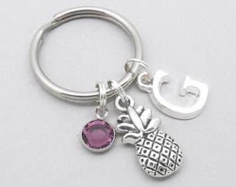 Pineapple monogram keyring | pineapple keychain | personalised pineapple keyring | pineapple accessory | pineapple gift | initial letter