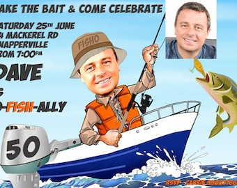 Man's Fishing Birthday Party Invitation - any age - 30th, 40th, 50th, 60th etc, retirement or fishing party created from your photo, Male