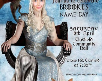 Game of Thrones Female Birthday invitation, Daenerys Targaryen. Funny Birthday, 40th female Birthday, 50th female Birthday, 60th birthday