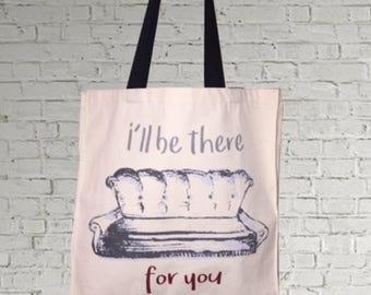 tote bag, cotton bag, canvas bag, shopping bag, beach bag, friends tv series, friends gift, smelly cat, sitcom, tv series, sofa