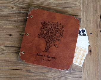 10 x10 inches  Personalized Engraved Photo Album /Custom LoveTree Wedding Guest Book/wedding Scrapbook