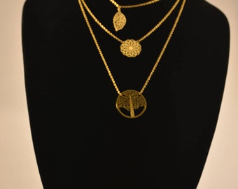 3 Tiered gold chain