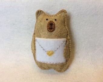 Hand Sewn Felt Bear Plushie with Envelope Pocket