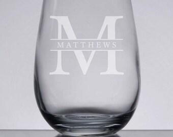 Engraved Wine Glass, 15 oz. Stemless Wine, Etched Wedding Gift, Monogram Wine Glass, Personalized Gift, Wine Monogram, Custom Wine Gift