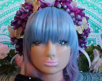Unicorn/Flower Headband-Headpiece/Crown/Kawaii/Lolita/BoHo-Fairy (Grape Goddess)