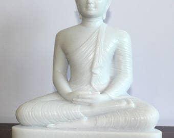Buddha Statues, White Granite Seated Buddha Statues, Samadhi Buddha, Meditation, Sitting Position, Buddha Statue With Meditation Gesture