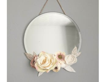 Mother Day Gift, Boho Mirror, Mother Day Flowers, Custom To Order, Romantic Nursery Decor, Shabby Chic, Floral Mirror, Baby Shower Gift