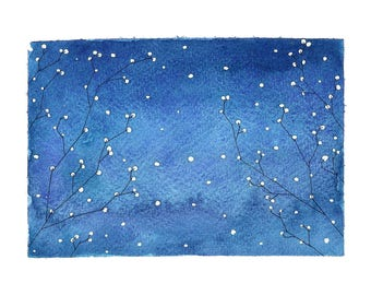 Watercolor Winter Night Sky Print A4
