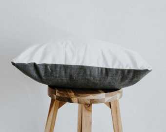 """Linen Throw Pillow Cover Dark Gray & White Color Blocked Nordic Collection 20 inch Square """"Jane"""""""