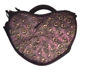 Sac photo / sac appareil photo reflex numérique / étui appareil photo sac à main sac à main appareil photo dans son sac pour les femmes / petite taille / sac en forme de coeur / motif tête de mort
