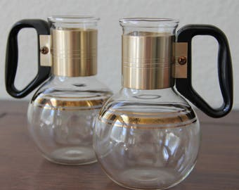 Pyrex Coffee Carafe - Pyrex for Silex - Mini Coffee Carafe - Vintage - Gold Ring - Black handle - Pyrex Small Carafe - Syrup Carafe - Coffee