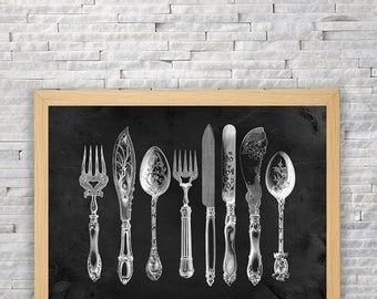 Decoration kitchen vintage. Black and white. art wall. Fork, spoon, knife. Instant download. Mr Monot