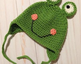 Crochet Frog Hat, Girl