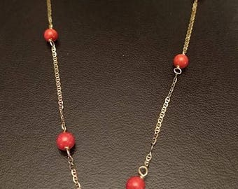 14k Gold Red Coral Necklace