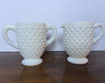 Vintage Fenton Hobnail Milk Glass Footed Creamer & Open Sugar Set